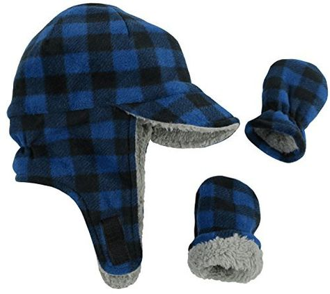 7965be37616 N Ice Caps Little Boys and Baby Sherpa Lined Fleece Flap Hat Mitten Winter  Set (6-18 Months