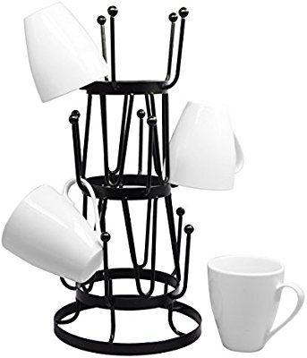 Amazon Com Stylish Steel Mug Tree Holder Organizer Rack Stand Black Kitchen Dining Mug Storage Coffee Mug Holder Mug Tree