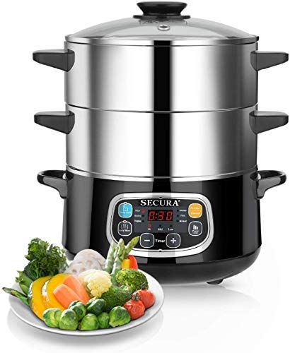 Amazing Offer On Secura Electric Food Steamer Vegetable Steamer Double Tiered Stackable Baskets Timer 1200w Fast
