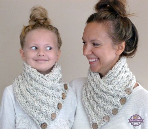 cf55522044b1d Matching Mom and Daughter Scarves - Mommy and Me Cable Button Neck Warmers  - Mom Toddler Child Knitted Cowls - Mom Daughter Accessories