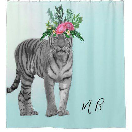 Black White Tiger Floral Blue Chic Monogram Shower Curtain