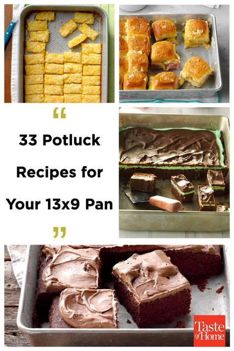 It's easy to feed a crowd with these 13x9 potluck appetizers, side dishes, breakfast casseroles and desserts. Take one along to parties, holiday brunches and other celebrations.