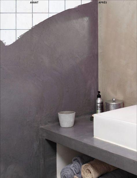 L'enduit pour carrelage de mur et plan de travail ne doit pas être confondu avec la peinture pour carrelage de salle de bain. L'aspect final devient complètement lisse ( ici aspect béton ciré) contrairement aux peintures qui conservent l'aspect d'origine. Masque sans sous couche : Masqu'carrelage de Maison Déco. 30 euros environ pour 5 m².