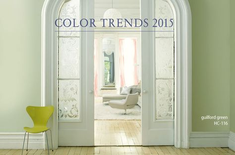 """Benjamin Moore 2015 Color of the Year...Guilford Green. """"A neutral that's natural. A silvery green that works with, well, everything. No worries. No second thoughts. Just a brush, dipped in a can, whooshed on a wall, and a whole lot of happily ever after."""" --Ellen O'Neill, Creative Director, Benjamin Moore"""