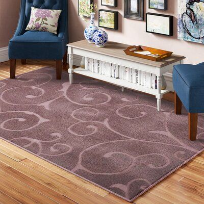 Charlton Home Ownby Floral Violet Area Rug In 2020 Purple Area Rugs Area Rugs Midnight Blue Area Rug