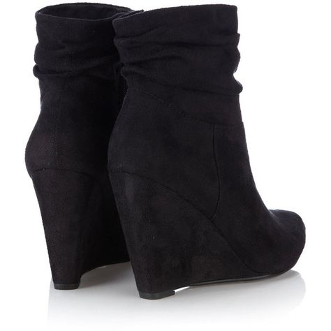 a173a16d9c8 Great for Fall   Winter ♥ Black Ruched Wedge Ankle Boot ( 78) found on