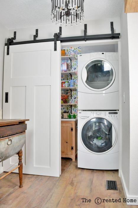 pantry laundry area small walk in farmhouse barn door kitchen renovation