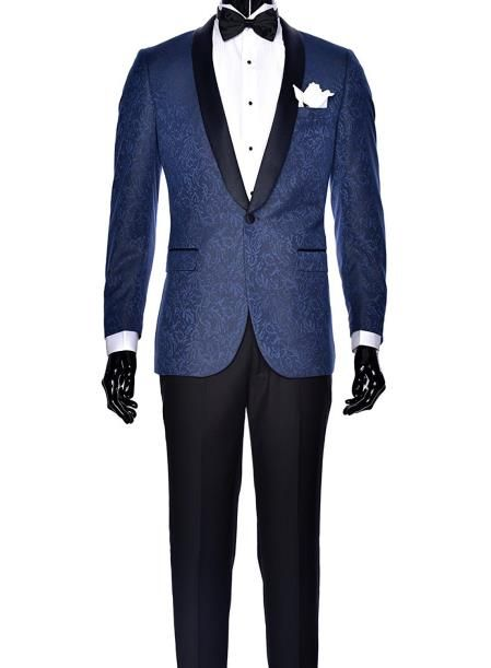 590cc7ef1 SKU#SM4102 Mens Navy Blue Dinner Jacket Paisley Two toned Tuxedo ...