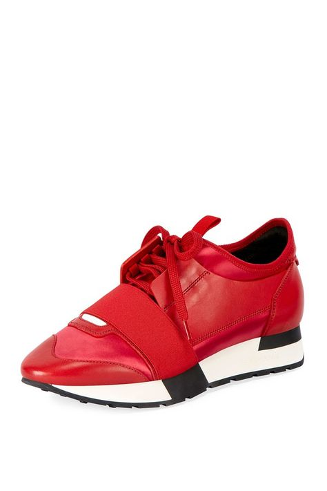 Race Satin And Leather Sneaker women's red Balenciaga