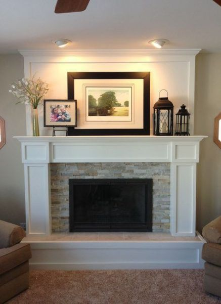 Awesome farmhouse fireplace mantel decorations 3201 - Home Decor Farmhouse Fireplace Mantels, Wooden Fireplace, Home Fireplace, Fireplace Remodel, Living Room With Fireplace, Fireplace Surrounds, Fireplace Design, My Living Room, Living Room Decor