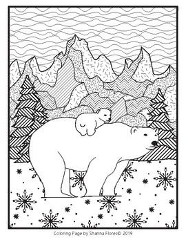 Zentangle Coloring Page Polar Bear Winter Zen Coloring Pages Polar Bear Coloring Page Bear Coloring Pages