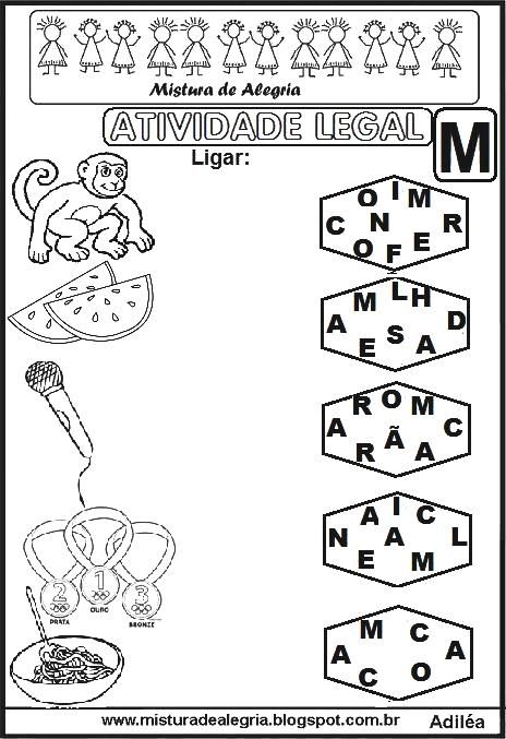 atividade legal ligar letras desenhos alfabetiza c3 a7 c3 a3o m