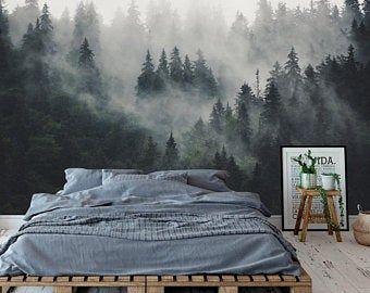 Dark Green Misty Forest Wall Mural Wallpaper Peel And Stick Etsy Forest Wall Mural Forest Wallpaper Forest Mural