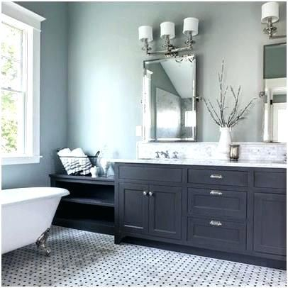 Bathroom With Grey Vanity Blue Cabinet Painted