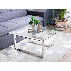 Beliani Glass Coffee Table Silver Crystal In 2020 Table