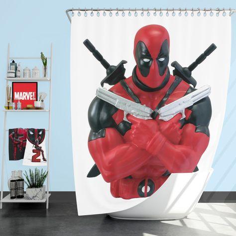 Marvel Bust Bank Deadpool Action Figures Shower Curtain Deadpool