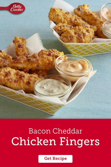 Bacon and cheddar are two of our favorite ingredients, but when we add them to chicken fingers they go from favorite to all-time best-idea-ever. Make it easy on yourself with Original Bisquick mix to create the batter. Can't stop eating bacon cheddar chicken tenders? They go great in chicken wraps, salads, and casseroles too.