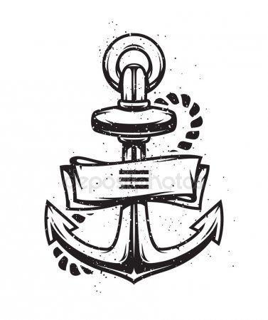Ancla De La Vendimia Con Cinta Anclas Logotipos Vintage Dibujos