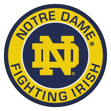 Ncaa Notre Dame Gold 2 ft. 3 in. x 2 ft. 3 in. Round Accent Rug