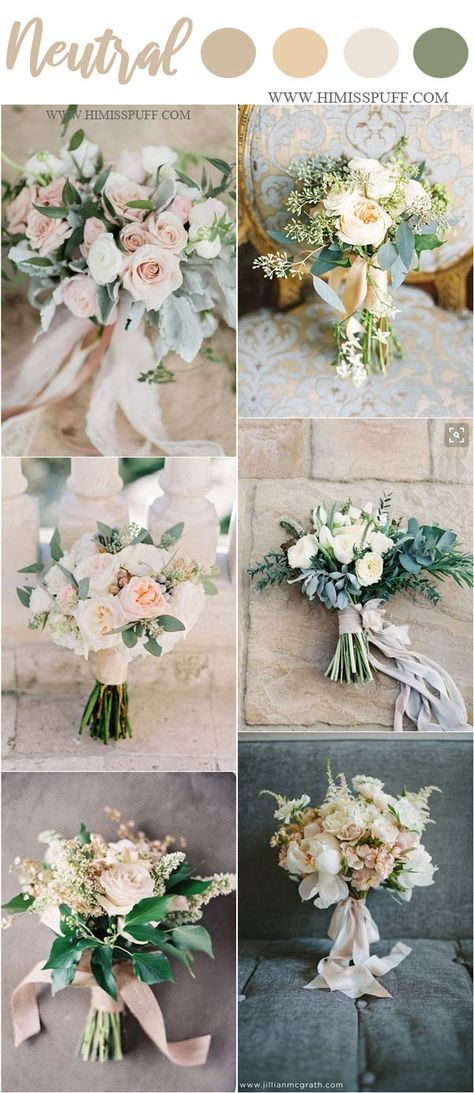 Neutral spring wedding bouquets - white and greenery wedding bouquets #weddings #weddingcolors #weddingideas #springwedding #himisspuff #neutral