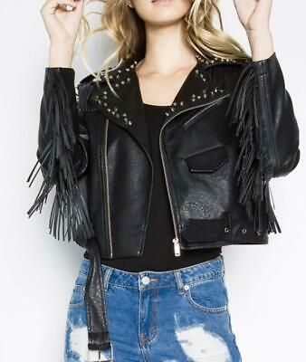Women Black Fringed Handmade Silver Studs Partywear Real Leather Belted Jacket Ebay Leather Jackets Women Leather Jacket Girl Fringe Leather Jacket