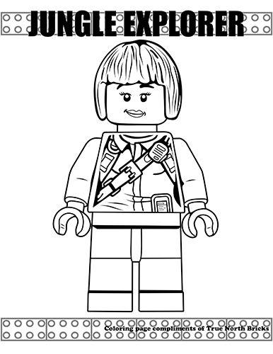 Coloring Page Female Jungle Explorer True North Bricks Lego Coloring Pages Coloring Pages Lego Coloring