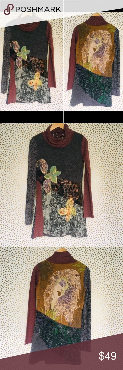 """Bella Carra by Biz XL cowl neck sweater tunic top Bella Carra by Biz Sweater  Unique and amazing cowl neck sweater tunic dress   - size XL extra large - Appliqué and woven textured design on front  - abstract art of woman on back - long sleeves - viscose spandex  - burgundy red grey yellow green purple orange pink   Pit to pit: 18.5"""" Mid collar to bottom in front: 27.5"""" Shoulder to bottom: 31"""" Mid collar to bottom on back: 31"""" bella carra Sweaters Cowl & Turtlenecks"""