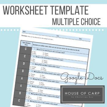 Product Descriptionthis Form Uses Google Docs To Create A Worksheet Template For A Multiple Choice Quiz Or Wo Multiple Choice Docs Templates Worksheet Template