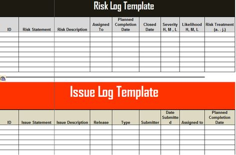 Risk And Issue Log Template Excel  Learning    Project