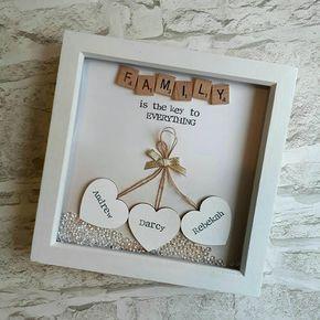 Gift For Mother Personalised Family Gift Gift For Couple Etsy Box Frame Art Box Frames Scrabble Frame