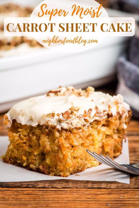 Super Moist Carrot Sheet Cake is so easy to make and always a crowd pleaser! Packed with carrots and pineapple and covered in cream cheese frosting, this one is a MUST MAKE! #carrotcake #sheetcake