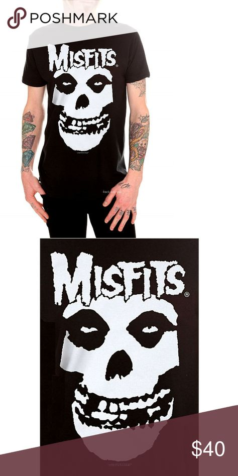 Misfits Fiend Skull Logo T-shirt 2XL 3XL NWT This slim fit black T-shirt from Misfits has a classic white front screen featuring the Fiend Skull. 100% cotton.  Item Condition: New With Tag.  Size  Pit to Pit Neck to Bottom  2XL  25.5