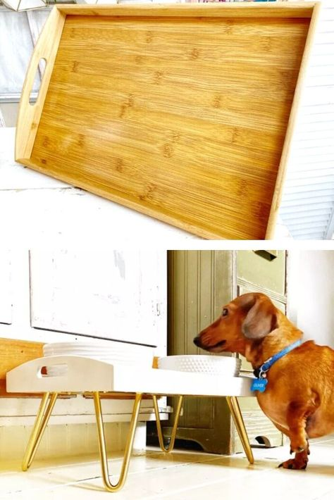 Treat your pets to a cute feeding station tray. Made from a cheap tray and some legs, this easy and cheap dog food station is quick to make and on a budget.