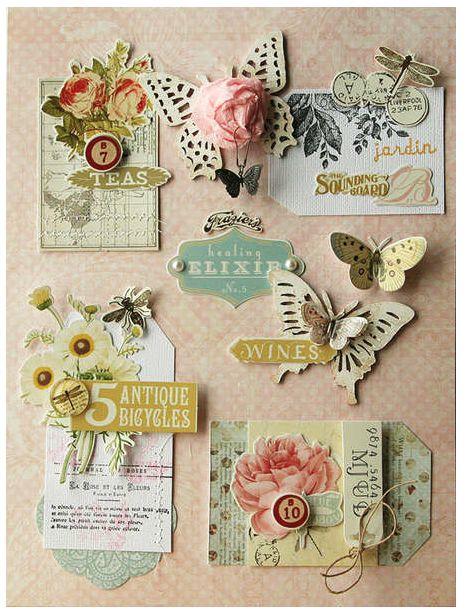 50 paper tags.Embellishments.flower shape tags.Purple color.Design paper.10 design.5 each Tag.Embellishments.Notes.mini label.