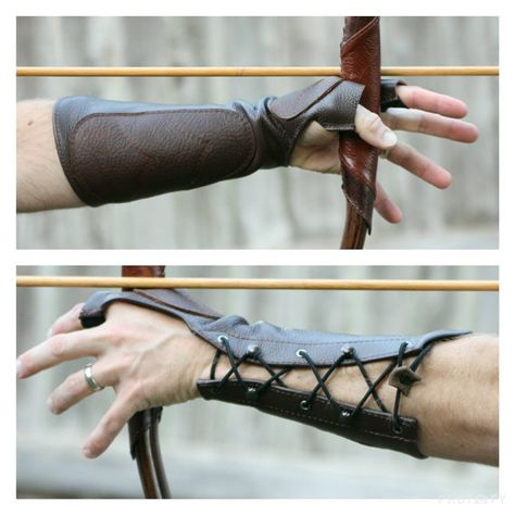 Woodland Brown Leather Arm Guard Bow Hand Shooting Glove, Left Hand, Medium to Large