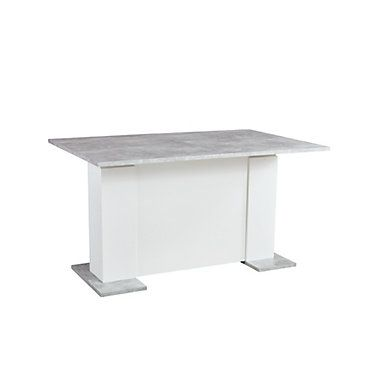 Table L 140 Cm Allonge Mountain Blanc Béton Décoration