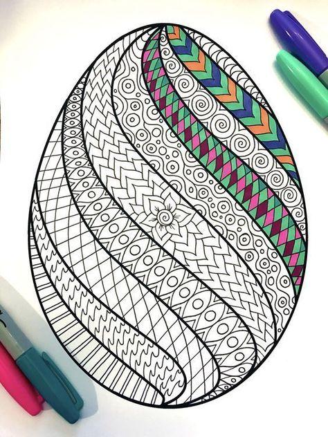 wirbel osterei  pdf zentangle coloring seite  ostereier