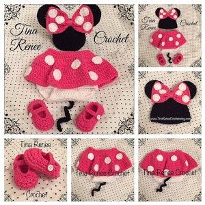 Crochet Minnie Mouse outfit Newborn - 18 months