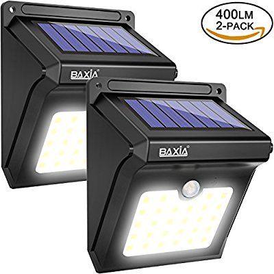 400LM LED Solare Luci Di Sicurezza Impermeabile W BAXIA Solar Lights all/'aperto