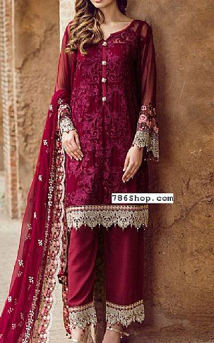 a46113528 Burgundy Chiffon Suit | Buy Flossie Pakistani Dresses and Clothing online  in USA, UK