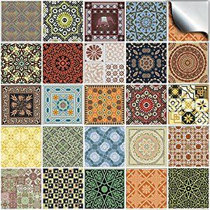 6 Pack Of 24 Various Traditional Wall Tile Stickers For 150mm