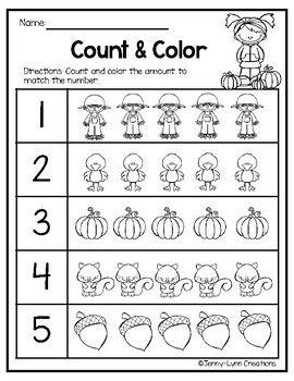 Free Fall Math Counting 1-10 | Thanksgiving math worksheets ...
