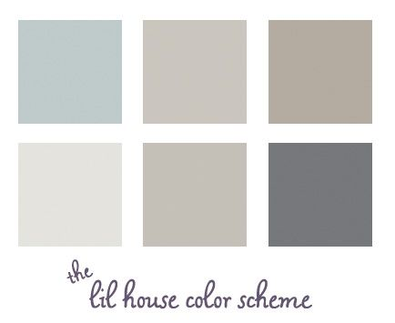 Left to Right, Top to Bottom: 1) Living Room Wedgewood Gray/Benjamin Moore HC-146. 2) Hall-Himalayan Trek/Benjamin Moore 1542 3) 2nd bedroom - Waynesboro Taupe/Benjamin Moore 1544. 40 Gray Ghost Olympic D17-2 5) Silver Fox Benjamin Moore 2108-50 6) Cracked Slate / Olympic D44-5 #1 for our bedroom and #6 for our bathroom