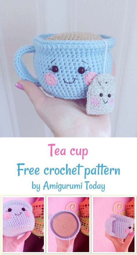 Crochet Teacup free crochet pattern by Amigurumi Today Addicted to amigurumi food and kawaii toys? This crochet pattern is definitely for you! This little cutie will make your day and give a positive spirit! Amigurumi Tutorial, Crochet Amigurumi Free Patterns, Crochet Animal Patterns, Stuffed Animal Patterns, Knitting Patterns, Crochet Animal Amigurumi, Pattern Sewing, Kawaii Crochet, Crochet Food