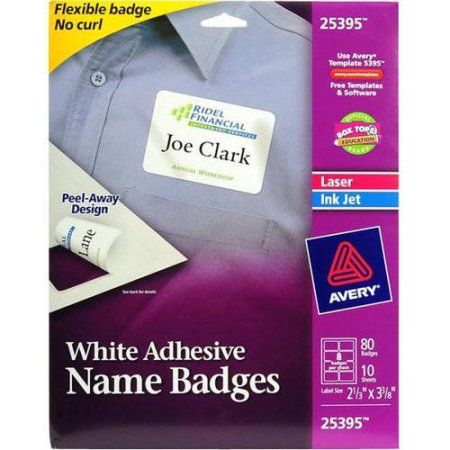 Avery Adhesive Name Badges Flexible 2 1 3 X 3 3 8 White 80 Badges 25395 Walmart Com Name Badges Name Tag Templates Avery Labels