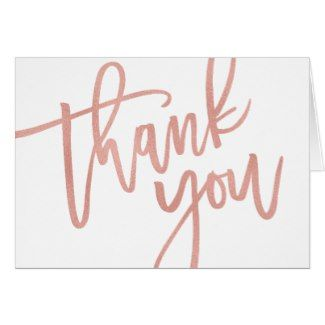 Thank You Hand Lettering Handmade Card B4 Botanical Greeting Card Rose Gold Foil Thank You Card