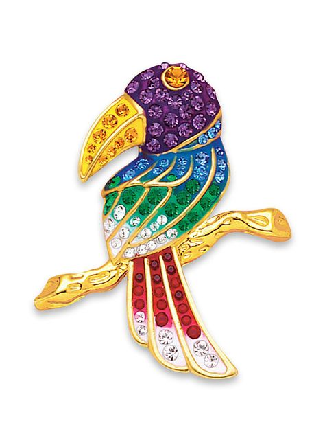 You Can Toucan Pin at http://www.AmeriMark.com. A multicolored enamel toucan dazzles with jeweltone crystal accents. #toucanpin #toucanjewelry #amerimark #windsorjewelry