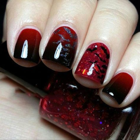 60+ Halloween Nail Art Ideas,zombie nails are black, red, yellow, white and purple. You can combine these colors to create blood, dirt and bruises.
