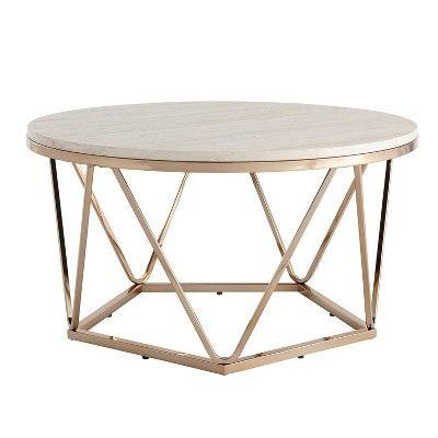 Laconia Faux Stone Round Coffee Table White Gold Aiden Lane With Images White Round Coffee Table Coffee Table White Coffee Table