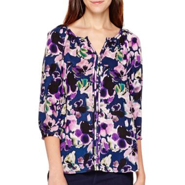 5a1e1a3c31ef St. John s Bay® Long-Sleeve Split-Neck Peasant Top - Tall found at  JCPenney